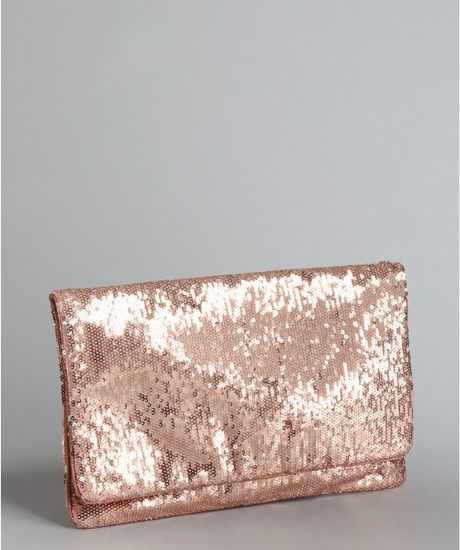 Bcbgmaxazria Sandal Wood Sequined Fold Over Clutch in Gold (rose) - Lyst
