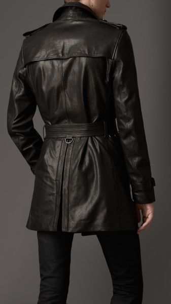 Burberry Midlength Lamb Skin Trench Coat In Black For Men