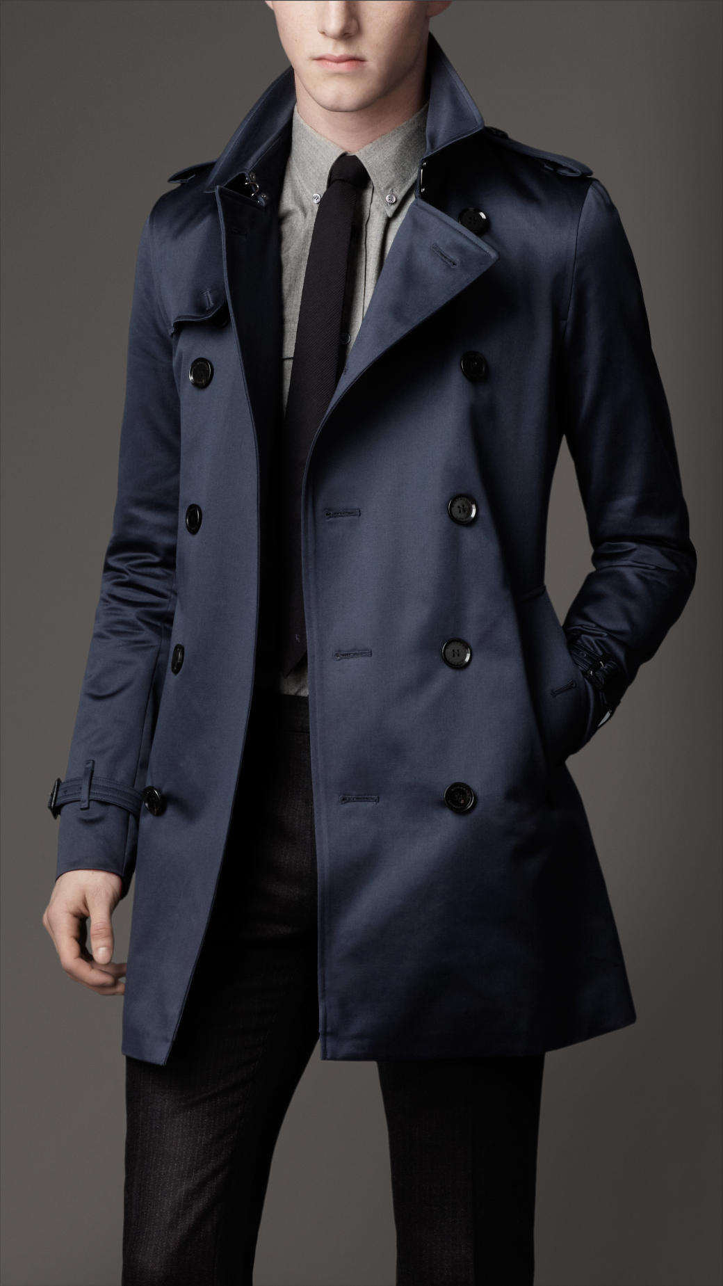 Burberry Midlength Heritage Cotton Trench Coat in Blue for Men | Lyst