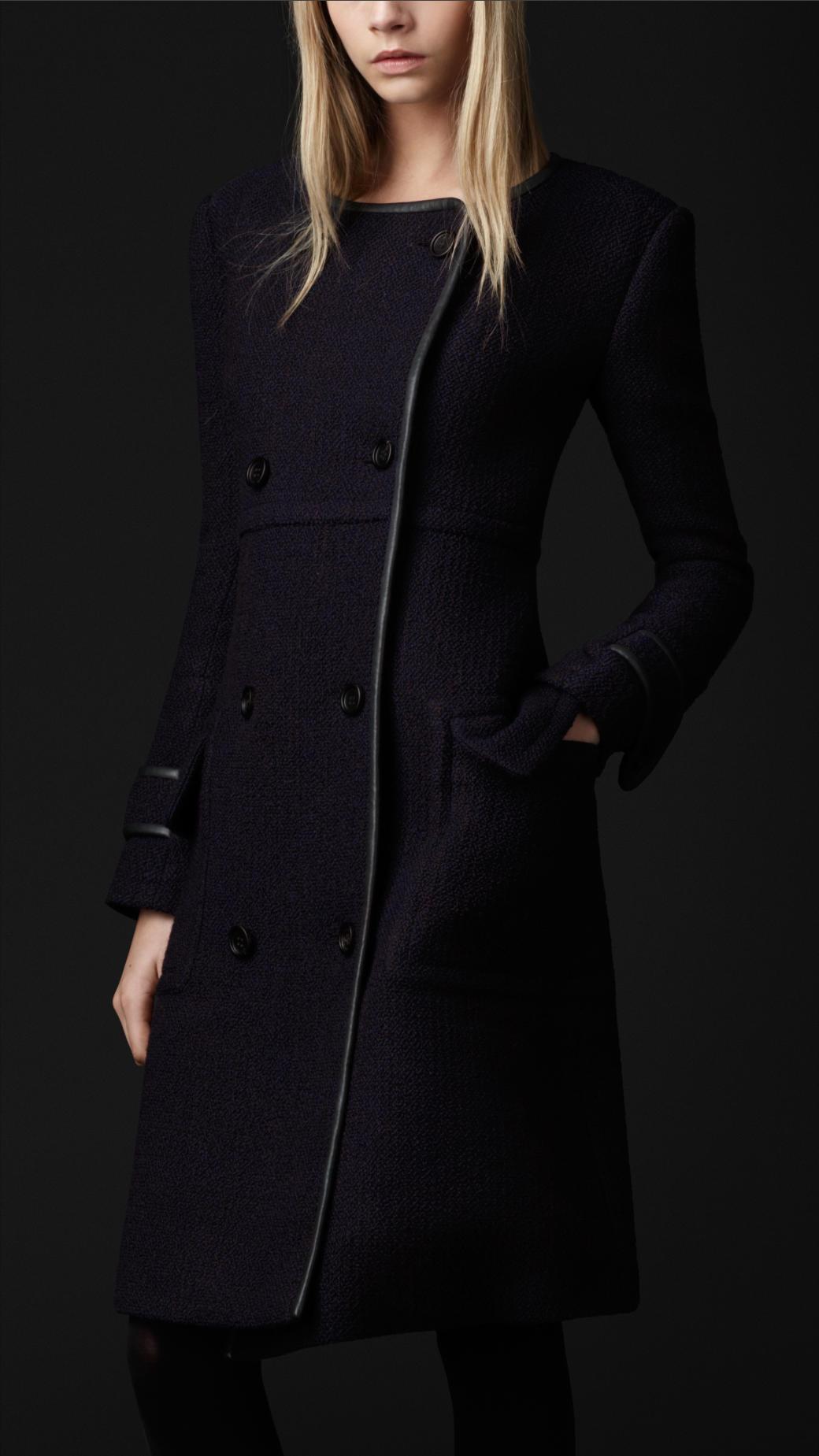 Burberry Prorsum Boucl 233 Wool Top Coat In Blue Lyst