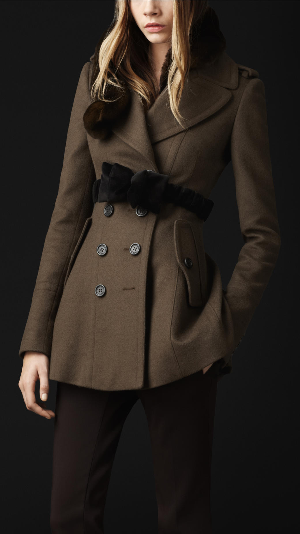 Burberry Prorsum Wool Cashmere Tailored Coat In Green Lyst