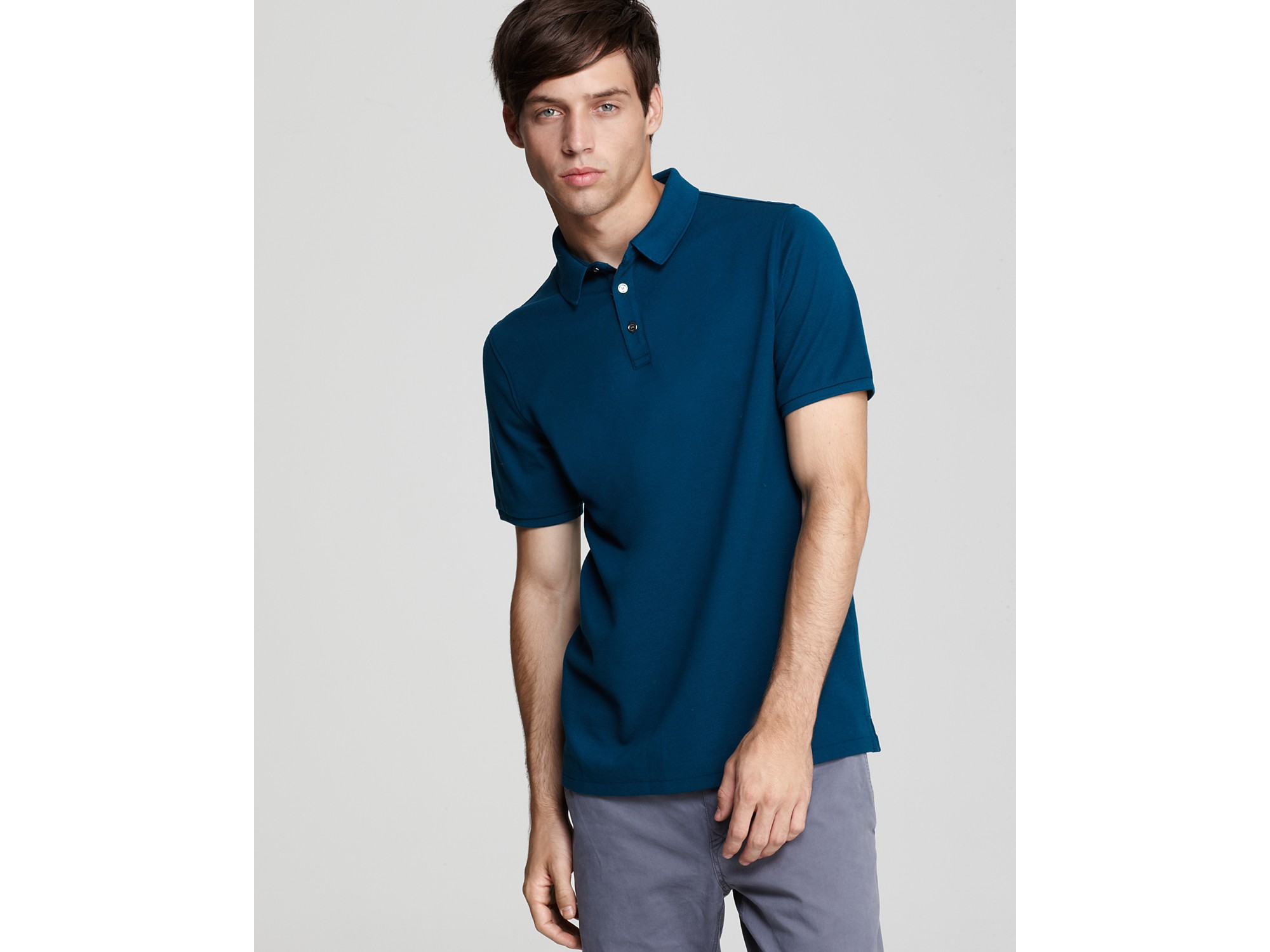 Lyst burberry brit finbourgh slim fit polo shirt in blue for Slim fit collared shirts