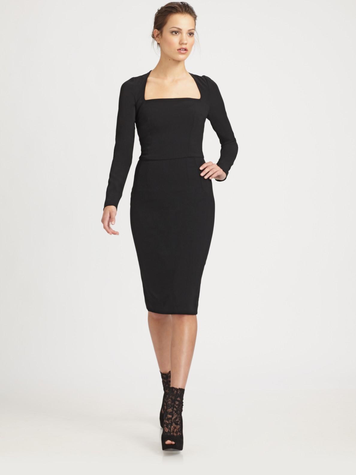 Dolce &amp- gabbana Square Neck Dress in Black - Lyst