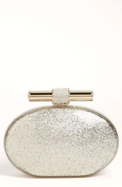 Jimmy Choo Calista Glitter Clutch in Gold (champagne) - Lyst