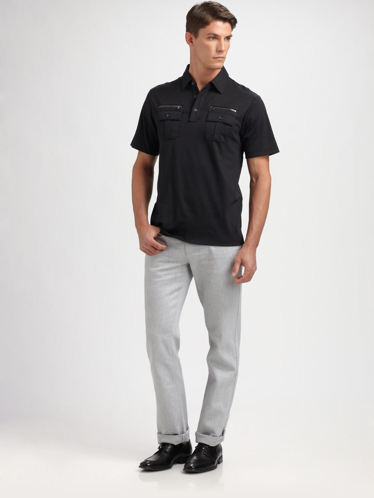 Lyst Michael Kors Zipper Pocket Polo Shirt In Black For Men