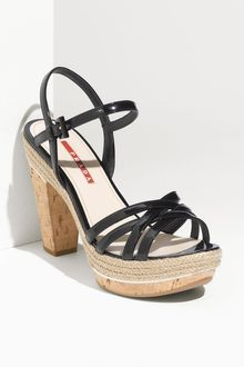 Prada Strappy Patent Leather Sandal - Lyst