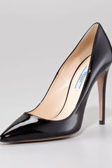 Prada Pointed Patent Leather Pump Black - Lyst