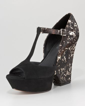 Rachel Zoe Frankie Tstrap Calf Hair Wedge - Lyst