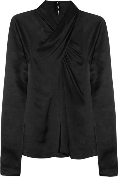 Temperley London Delilah Crossover Silksatin Top in Black - Lyst