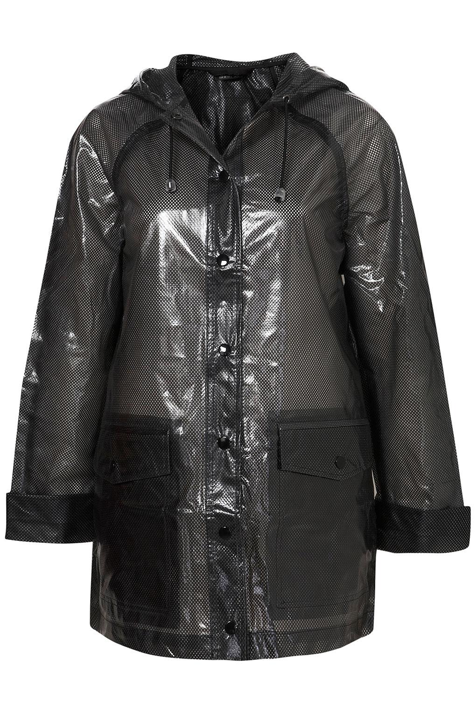 Topshop Plastic Airtex Rain Mac In Black Lyst