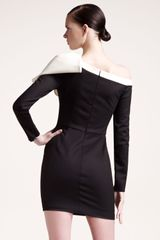 Valentino Bow Shoulder Long Sleeve Dress in Black - Lyst