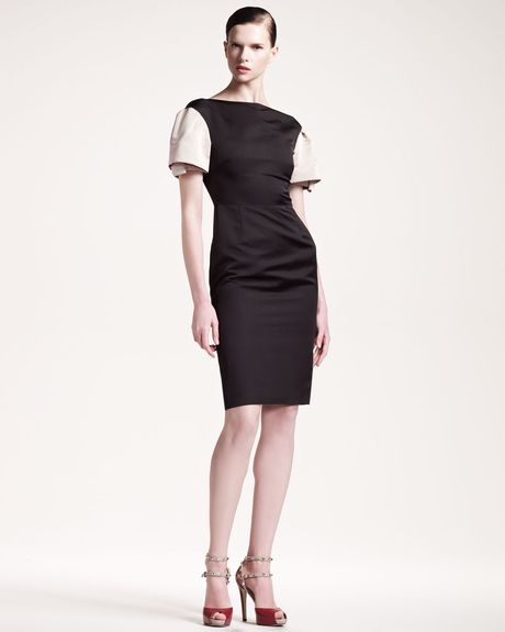 Valentino Layeredsleeve Dress in Black - Lyst