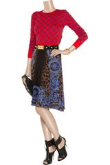 Versace Printed Silkchiffon Skirt in Blue - Lyst