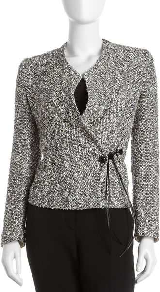 Armani Tweed Wrapfront Jacket in Gray (010multi) - Lyst