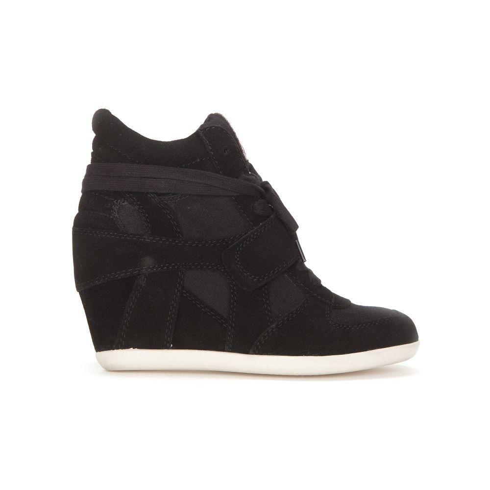 ash bowie suede canvas wedge sneakers black in black lyst