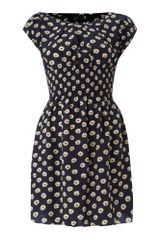 Ax Paris Ax Paris Daisy Print Cap Sleeve Dress - Lyst