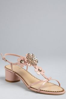 Dior Pale Rose Patent Leather Flower Detail Sandals - Lyst