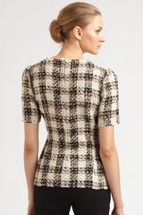 Dolce & Gabbana Tweed Check Top in Black - Lyst