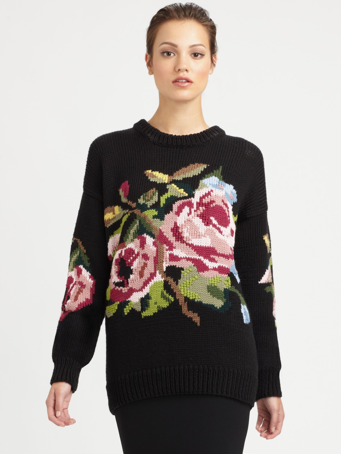 Dolce & gabbana Wool Floral Print Sweater in Black | Lyst