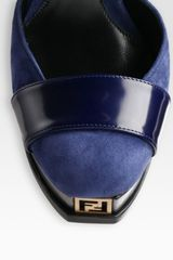 Fendi Strappy Suede and Leather Platform Pumps in Blue (navy) - Lyst