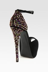 Giuseppe Zanotti Suede and Crystalcoated Heel Platform Sandals in Black - Lyst