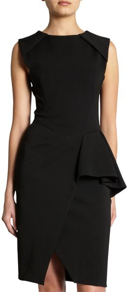 J. Mendel Asymmetric Peplum Dress in Black - Lyst