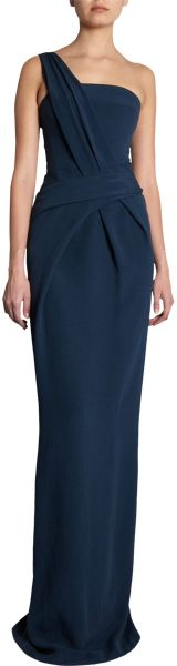 J. Mendel One Shoulder Gown in Blue - Lyst