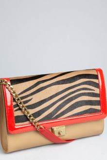 Jimmy Choo Tan Leather And Calf Hair Cassie Convertible Shoulder Bag - Lyst