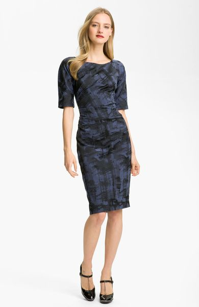 Lela Rose Side Ruched Dress in Blue (midnight) - Lyst