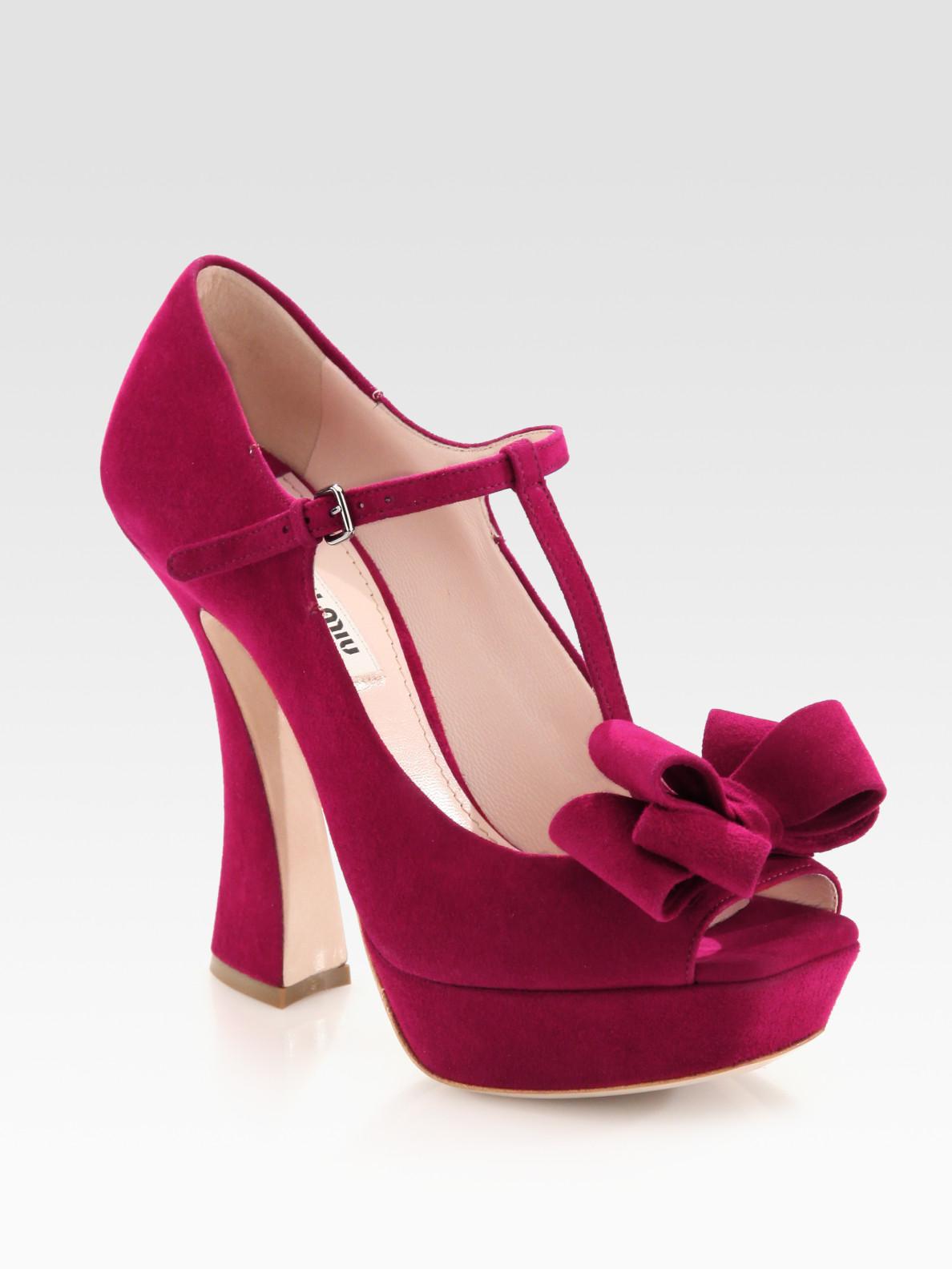 fe2577f9f02 Lyst - Miu Miu Suede Peep Toe Tstrap Bow Pumps in Pink