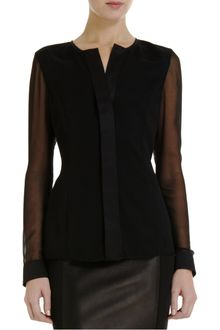 Narciso Rodriguez Sheer Sleeve Blouse - Lyst