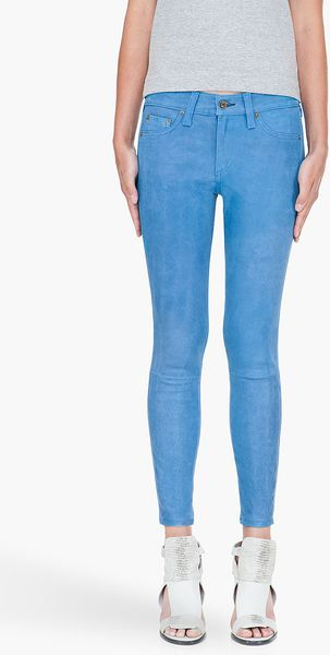 Rag & Bone Blue Cropped Leather Leggings in Blue - Lyst