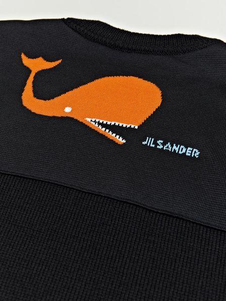 Jil sander jil sander mens whale logo jumper in black for for Whale emblem on shirt