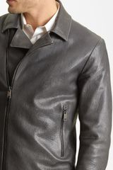 Jil Sander Calfskin Jacket in Gray for Men (medium grey) - Lyst