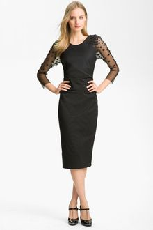 Lela Rose Side Ruched Embroidered Dress - Lyst