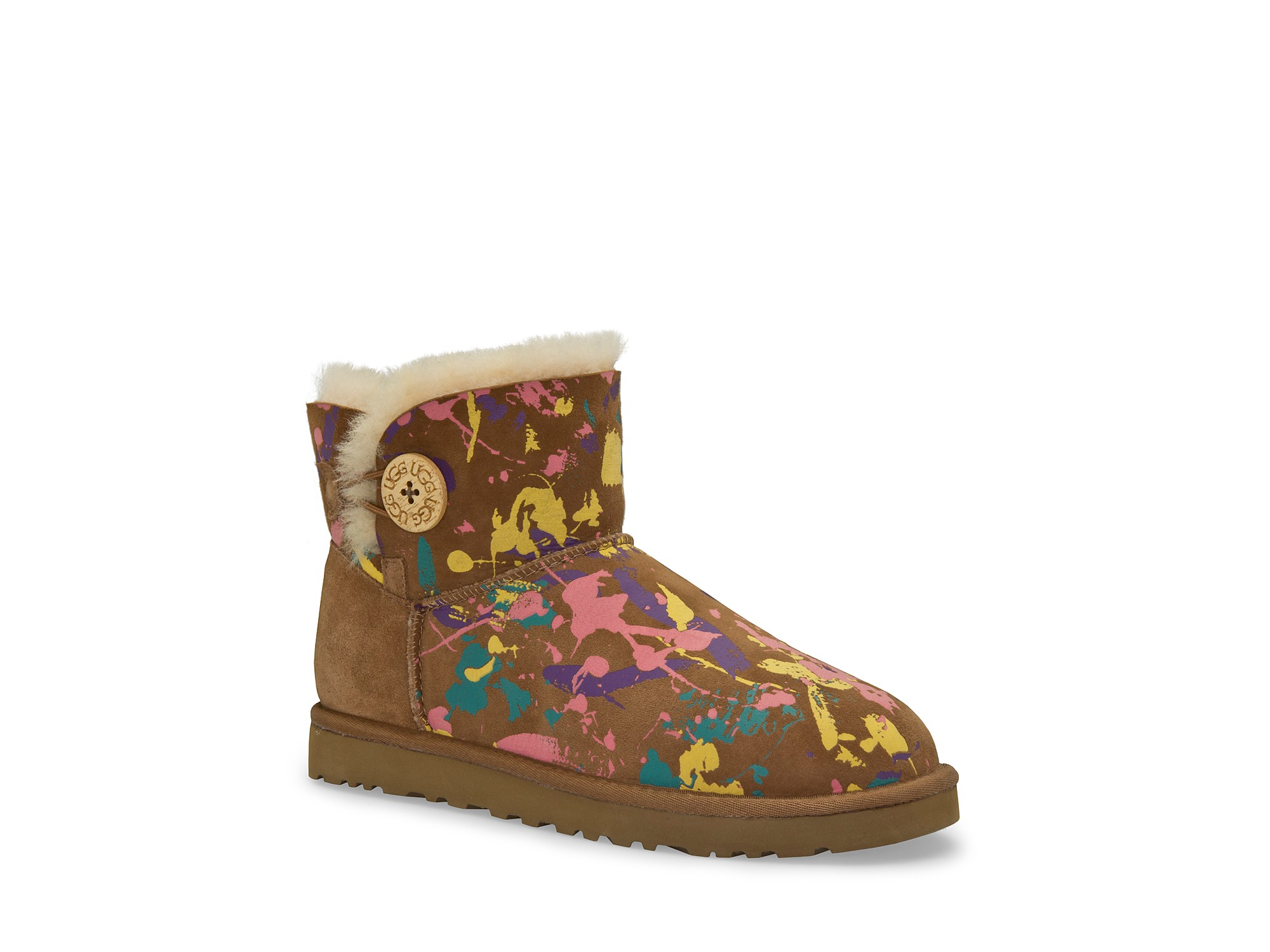 ugg boots mini bailey button paint splatter in brown lyst