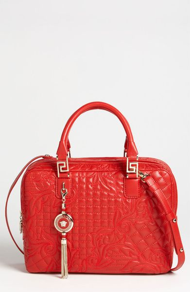 Versace Versace Linea Leather Satchel in Red (rosso) - Lyst