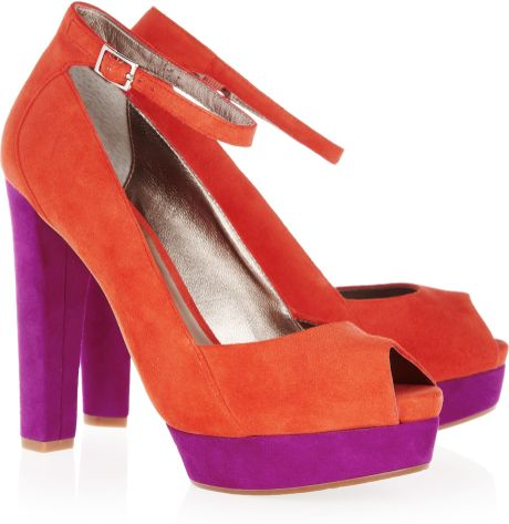 Dkny Corey Colorblock Suede Peeptoe Pumps in Orange