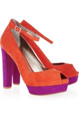 Dkny Corey Colorblock Suede Peeptoe Pumps in Orange - Lyst
