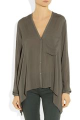 Helmut Lang Lush Voile Top in Gray - Lyst