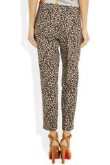 J.crew Café Leopardprint Cropped Linen Pants in Animal (leopard) - Lyst