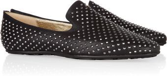 Jimmy Choo Wheel Studded Leather Loafers - Lyst