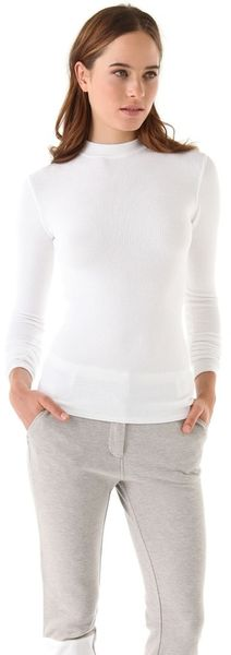 T By Alexander Wang Mock Neck Thermal Top in White - Lyst