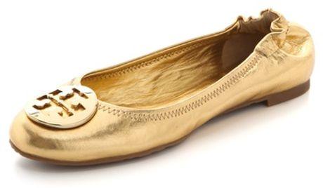 Tory Burch Reva Metallic Flats in Gold