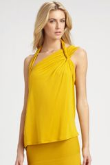 Bcbgmaxazria Roslyn Abstract Halter Top in Yellow (saffron) - Lyst