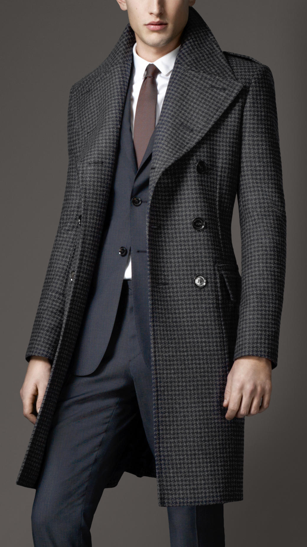 burberry houndstooth greatcoat in blue for men lyst. Black Bedroom Furniture Sets. Home Design Ideas