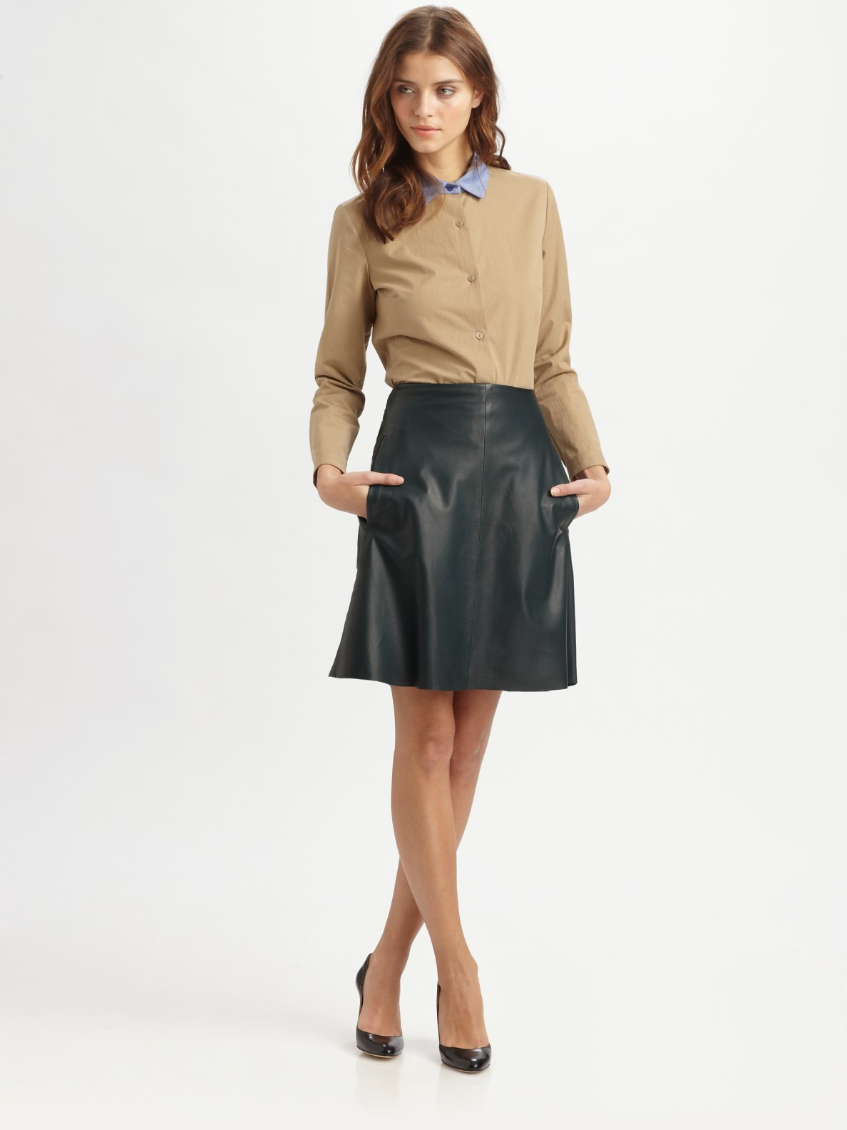 Carven Aline Leather Skirt in Green | Lyst
