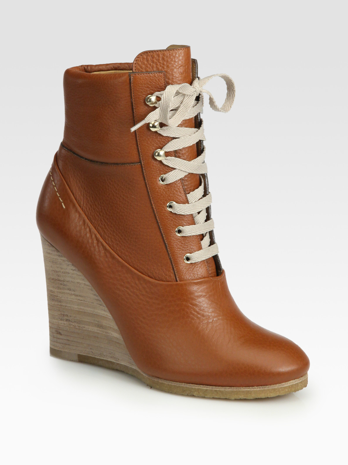de657f5c799 Lyst - Chloé Leather Laceup Wedge Ankle Boots in Brown