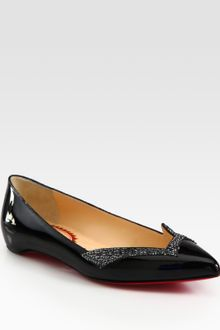 Christian Louboutin Pigalove Patent Leather Crystalcoated Flats - Lyst
