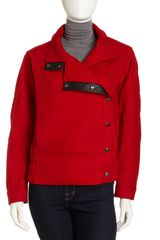Dkny Funnel Collar Coat in Red - Lyst